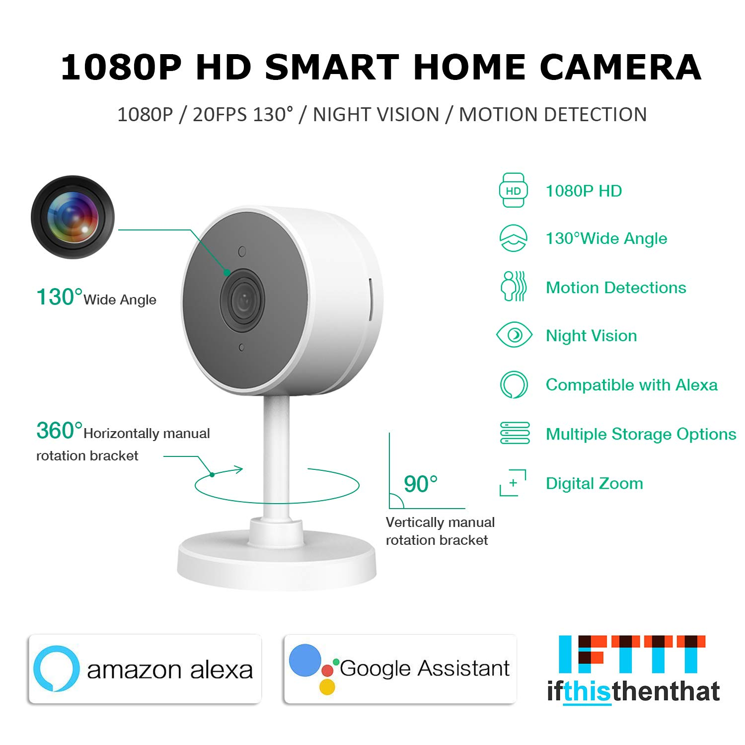 LARKKEY WiFi Home Security Surveillance Camera 1080P, Smart Baby Monitor Compatible with Alexa and Google Home, Motion Detection & Tracker, Night Vision by LARKKEY (Image #2)