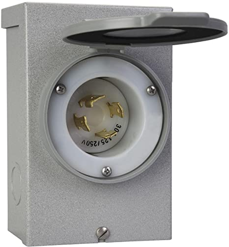 amazon.com: reliance controls generators up to 7,500 running watts pb30 30- amp nema 3r power inlet box, gray: garden & outdoor  amazon.com