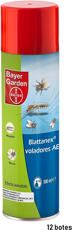 Bayer Garden Blattanex Voladores Ae Insecticida Moscas, Mosquitos e Insectos Voladores Comunes Efecto Inmediato - Caja 12 x 500 ml
