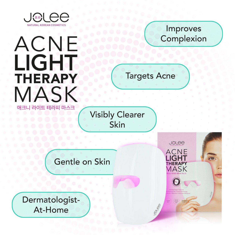 JoLee Máscara de Terapia Ligera Contra el Acne, Dermatológicamente Probada, Reduce el Acné, las Manchas y las Arrugas, Resultados Visibles en 30 Días, ...