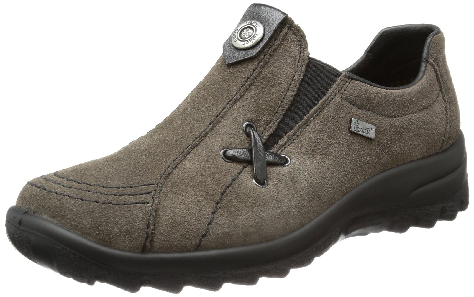 Rieker L7171 Womens Dark gray Leather Loafers 40 EU (8.5 US Women)