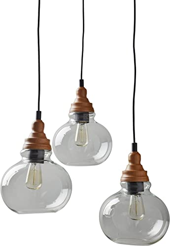 Rivet Glass Mid Century Modern 3 Pendant Chandelier Fixture With 3 Vintage Light Bulbs – 14.25-60 Inch Cord, Brown and Black