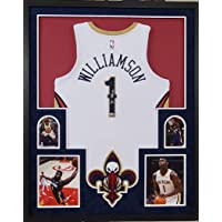 $749 » Zion Williamson New Orleans Pelicans Autograph Signed Custom Framed NBA Licensed Swingman Jersey White Suede Matting Laser Cut Logo…