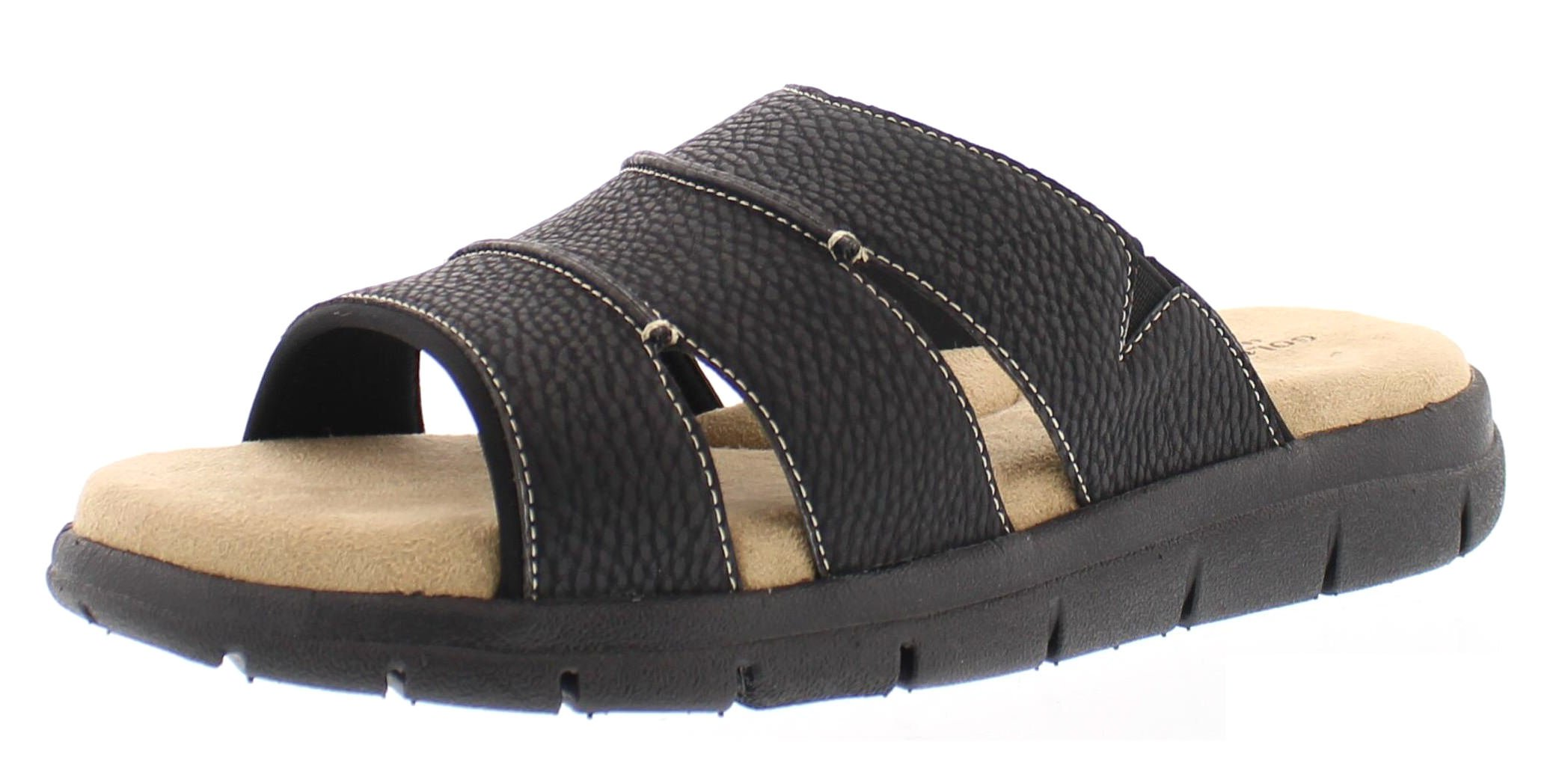Gold Toe Men's Harbour Casual Outdoor Fisherman Sandal Slip On Open Toe Beach Slides Flats Water Shoes Black 10.5D US