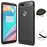 OnePlus 5T Case, TopACE Ultra Slim Thin Carbon Fiber Scratch Resistant Shock Absorption Soft TPU Protective Cover for OnePlus 5T (Black)