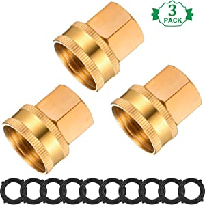 3 Pieces Female Brass Garden Hose Fitting Swivel Adapter Connector Thread Size 3/4 Inch GHT to 1/2 Inch NPT with 10 Pieces 3/4 Inch Gaskets