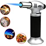 Buluri Culinary Butane Torch, Windproof Culinary Torch, Blow Torch Butane Torch Flame Gun With Safety Lock 1300°C for Hiking, Camping, Cooking, Kitchen, Creme Brulee, BBQ(Butane Gas Not Included)