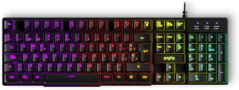 Energy Sistem Gaming Keyboard ESG K2 Ghosthunter (Teclado de Membrana, USB, Luces LED Efecto Rainbow, Anti-ghosting de 19 Teclas)