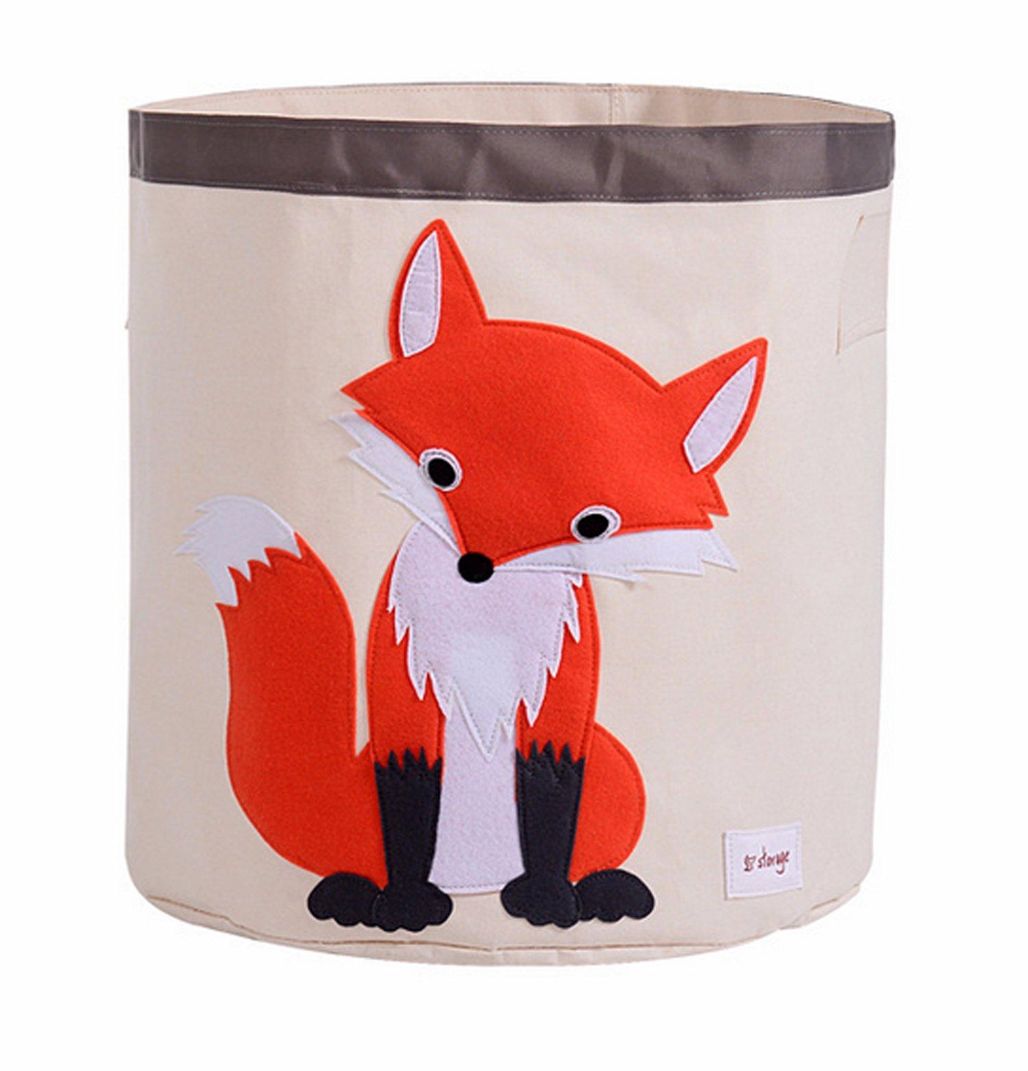 HIYAGON Storage Bin,Cube Hamper Box for Kids Toys Animal Theme Decor Perfect for Baby Nursery(Fox)
