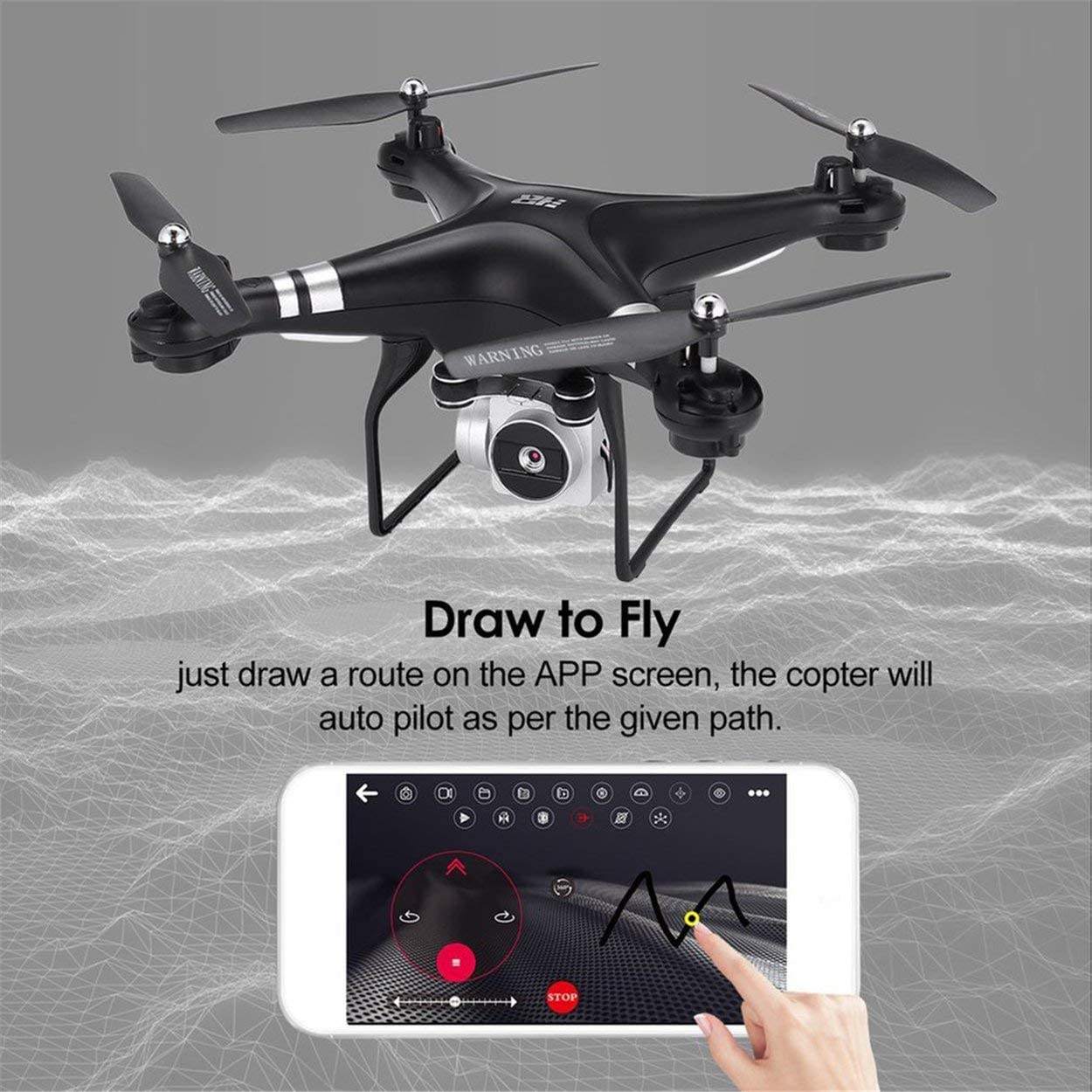 SH5H 2.4G FPV Drones RC Quadcopter with 3 Batteries 720P WiFi Camera Live Video Altitude Hold Headless Mode One Key Return Thress Batteries Black