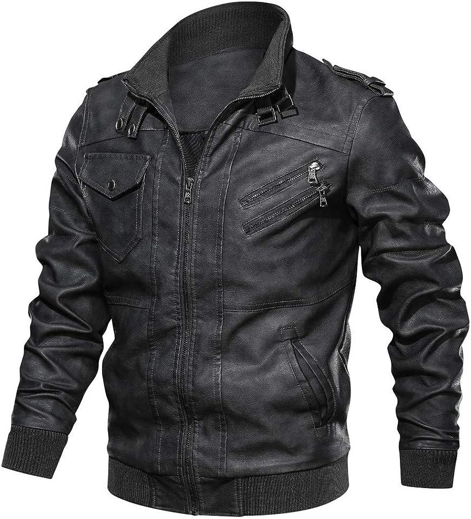 VECDY Chaquetas de Cuero de imitación para Hombre Tops para Hombres Bolsillos Punk Vintage Abrigos con Cremallera Suéter Collar Moda Invierno Outwear