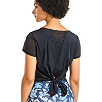 CRZ YOGA Women's Yoga Workout Mesh Shirts Activewear Sexy Open Back Sports Shirt Tops
