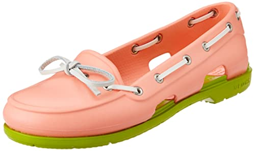 8b02e49299f9 crocs Women s Beach Line Boat Shoe Women Melon and Volt Green Rubber Boat  Shoes - W4