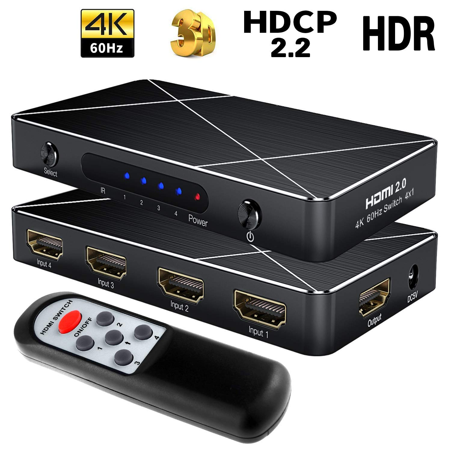 SGEYR HDMI Selector Switcher 4x1 HDMI 2.0 Switch 4 in 1 Out HDMI Switch 4 Port with IR Remote, HDMI 2.0 HDCP 2.2 Support 4K@60Hz Full HD 1080P, 3D, PS3/PS4, Fire TV, PS4 Pro and More(4 in 1 Out)