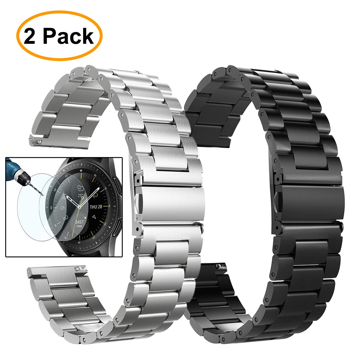 Valkit Compatible Galaxy Watch (46mm) Bands, 2 Pack 22mm Stainless Steel Band, Solid Metal Wrist Band Strap Business Bracelet + Screen Protector Replacement for Samsung Galaxy Watch 46mm SM-R800 by valkit