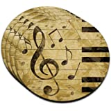 Vintage Piano with Treble Clef and Music Notes MDF Wood Coaster Set of 4