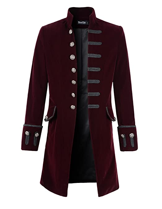 Men's Steampunk Clothing, Costumes, Fashion  Mens Velvet Goth Steampunk Victorian Frock Coat                                AT vintagedancer.com