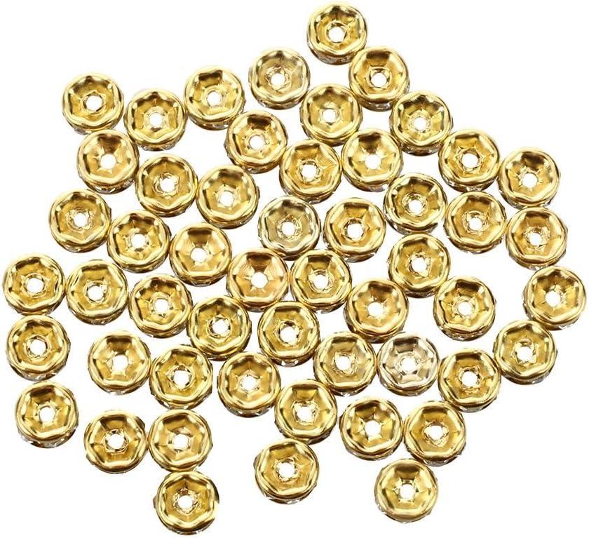 REFURBISHHOUSE 50 Cuentas de Oro Separador de Cuentas de Oro 6mm con Diamantes de Imitacion
