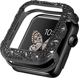Fohuas bling floral case compatible apple watch 44mm,Luxury diamond apple watch Bezel protector 44mm,Vintage sparkling Jewelry cover bumper for apple watch series 6 5 4 SE(black)