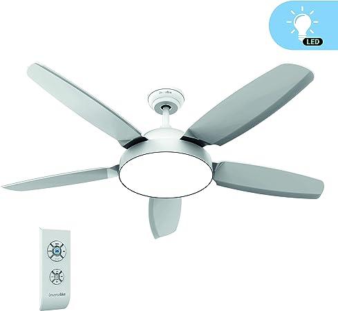UNIVERSALBLUE - Ventilador de Techo con Luz - Ventilador Silencioso con Mando a Distancia - 5 aspas - 3 velocidades - Color Blanco: Amazon.es: Hogar