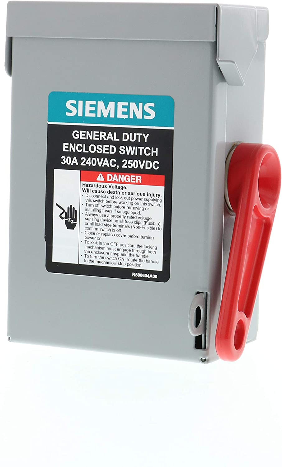SIEMENS GNF321A 3P 30A 240V General Duty Safety Switch Indoor, Non-Fusible, ANSI 61 Grey
