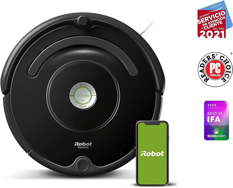 iRobot - Robot aspirador Roomba 671 conectado a WIFI, Para alfombras y suelos, Tecnología Dirt Detect, Sistema limpieza en 3 fases, Sugerencias personalizadas, Compatible con asistentes de voz: Amazon.es: Hogar