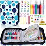 BONTIME Crochet Hooks Set - 11 Pieces Ergonomic Crochet Hooks with Portable Case, Contains All The Crochet Accessories Fit Any Projects, Ideal for Crocheters with Arthritic, Colorful Dots