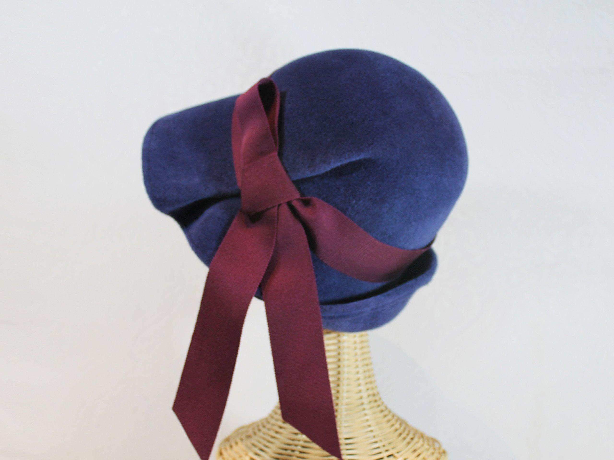 Lana Pleated Wide Brim Cloche Hat in Navy Blue Velour Felt