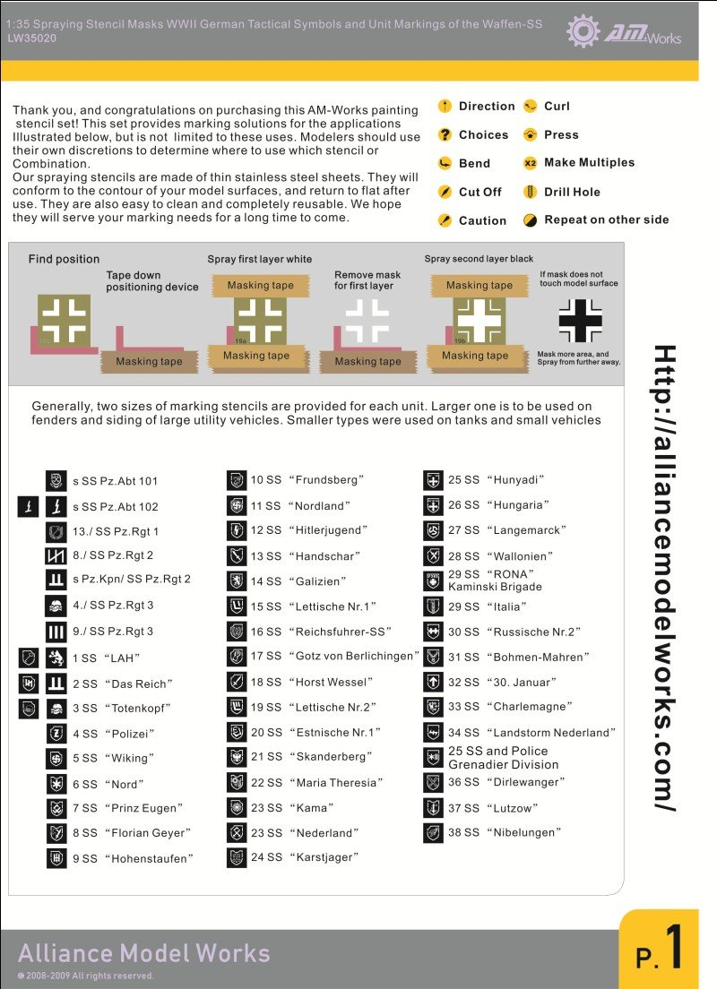 Amazon Alliance Model Works 135 Stencil German Symbols Waffen