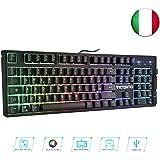 VicTsing Tastiera Gaming con USB, Semi-Meccanica QWERTY RGB, Tastiera da Gioco Impermeabile con Anti-ghosting, 12 Tasti Multimediali, Retroilluminazione Regolabile per Gaming Videogiochi, Lavoro – Nero
