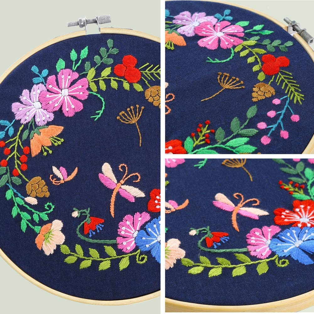 Color Threads and Tools Pllieay Full Range Embroidery Starter Kit with Pattern and Instructions Including Embroidery Cloth with Botanical Garden Pattern 20cm Bamboo Embroidery Hoop