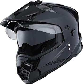 1Storm Dual Sport Motorcycle Motocross Off Road Full Face Helmet Dual Visor Glossy Black