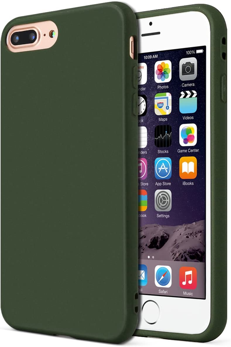 MUNDULEA Matte Compatible iPhone 7 Plus/iPhone 8 Plus case,1.5mm Thick Flexible TPU Protective Cover Compatible iPhone 7 Plus/iPhone 8 Plus 5.5 inch (Green)