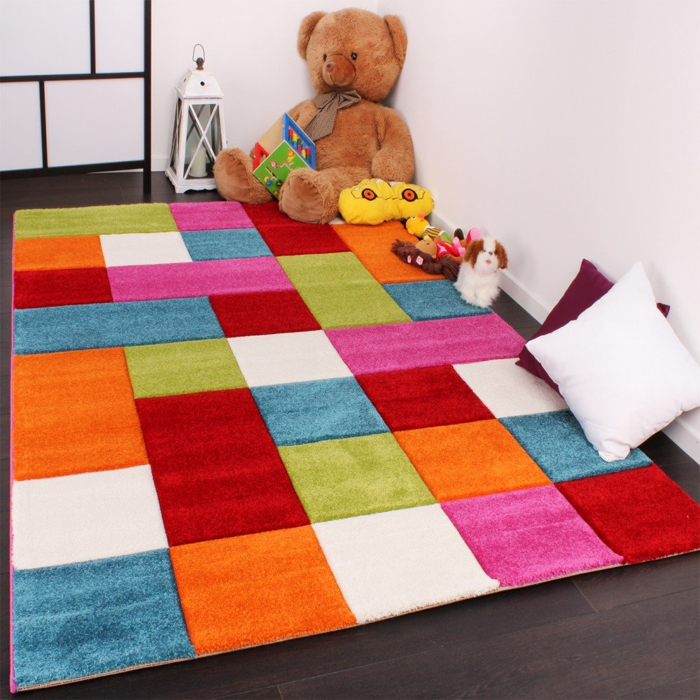 Children's Rug Checked Design, Multi-Coloured / Green, Red, Grey, Black, Cream, Pink 200x290 cm PHC