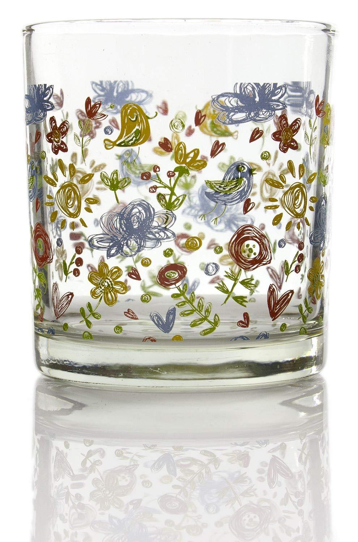 Juego de 6 vasos de vidrio transparente con figuras de colores.