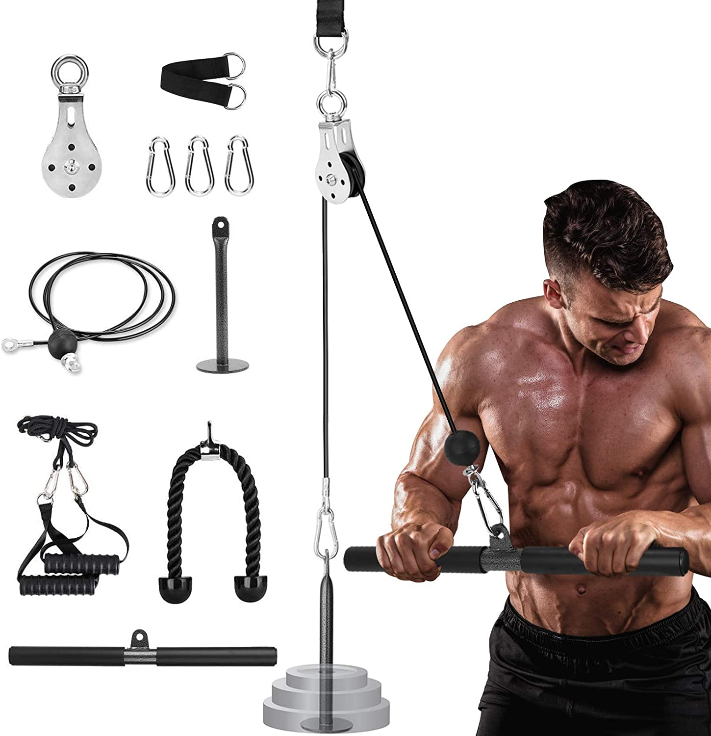 Cable Machine Gym Pulley System, Fitness Lat Pulldown Bars Attachments, 1.8M LAT and Lift Pulley Cable System with Loading Pin, Home Gym Equipment for Triceps Pull Down, Biceps Curl, Back, Forearm