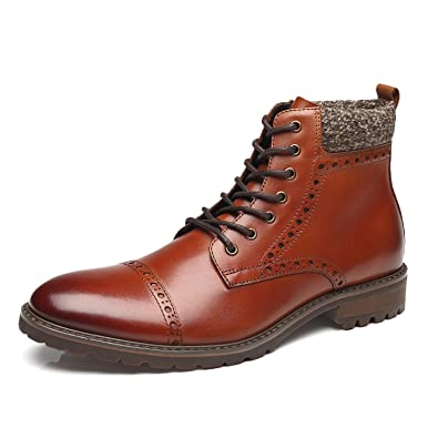 28253569b89c La Milano Mens Dress Boots Cap Toe Lace up Leather Winter Oxford Casual  Comfortable Ankle Combat Boots for Men