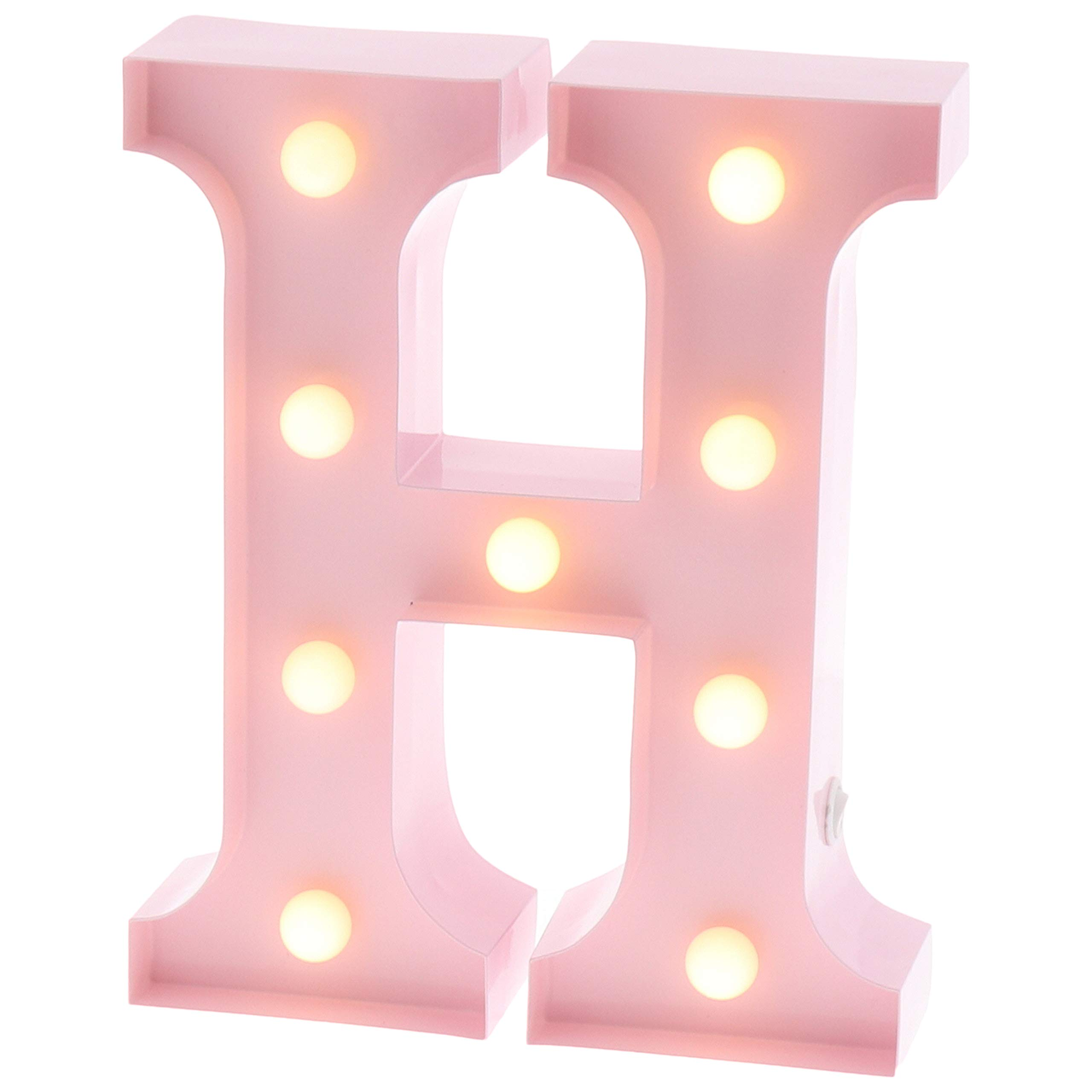 "Barnyard Designs Metal Marquee Letter H Light Up Wall Initial Nursery Letter, Home and Event Decoration 9"" (Baby Pink)"