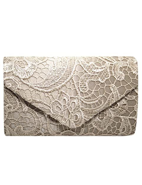 Thinkmax Womens Elegant Lace Crochet Evening Clutch Purses Bag