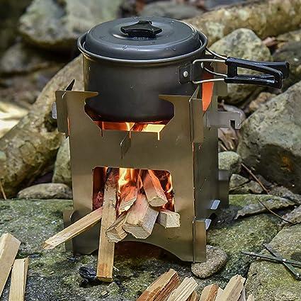 IPOTCH Camping Plegable Estufa De Leña Portátil Compacto Ligero Al Aire Libre Picnic BBQ Mochilero Cocinar