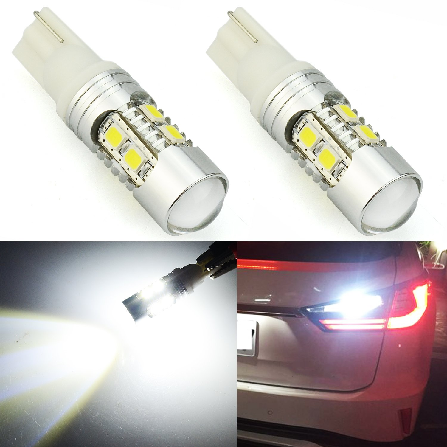 JDM ASTAR Super Bright AX-2835 Chipsets 912 921 LED Bulbs For Backup Reverse Lights, Xenon White (Only used for backup reverse lights)