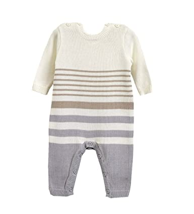 Natures Purest Stripe Organic Cotton All in One Grey & Mink Striped 0-3 Months