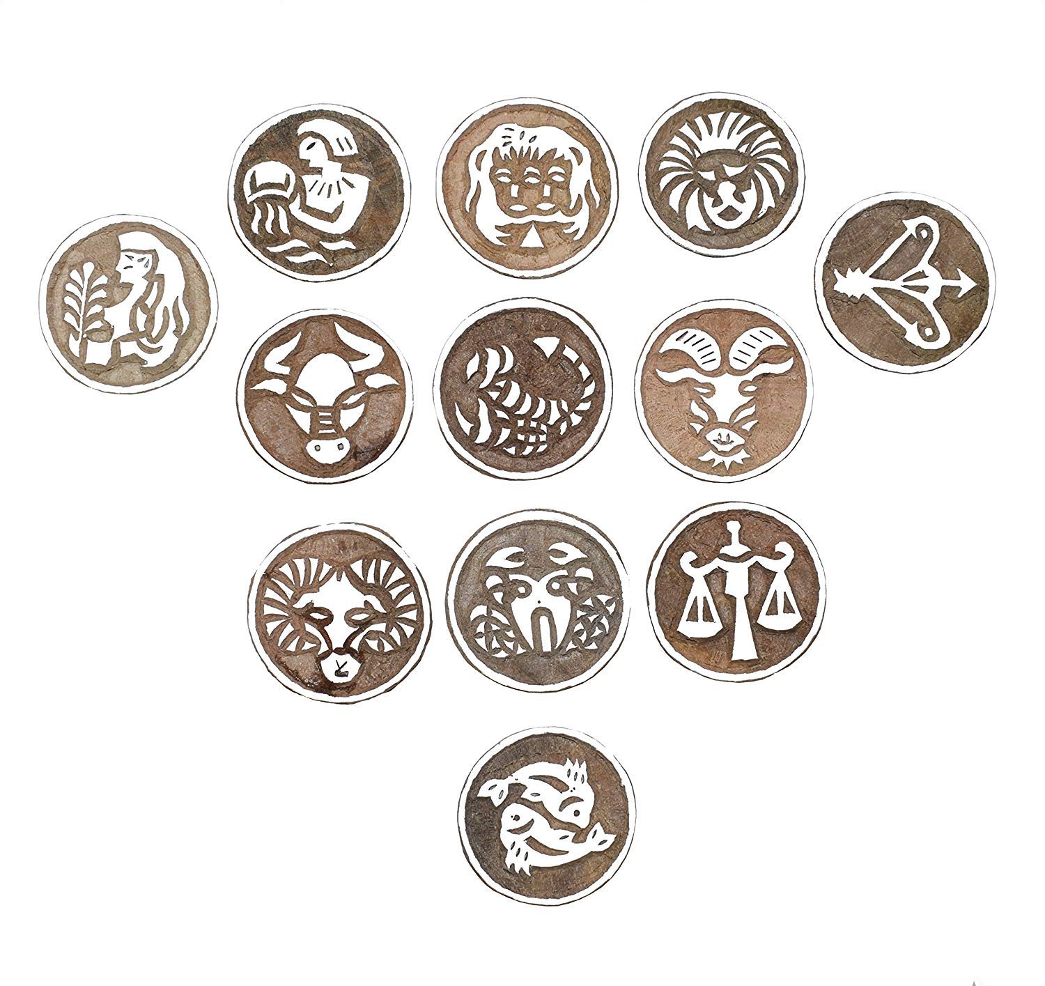 PARIJAT HANDICRAFT Printing Stamps Astrology Horoscope Design Wooden Blocks (Set of 12) Hand-Carved for Saree Border Making Pottery Crafts Textile Printing