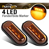 Partsam Pair Amber Yellow Side Marker Turn Signal Fender Lights Assembly 4LEDs For Honda