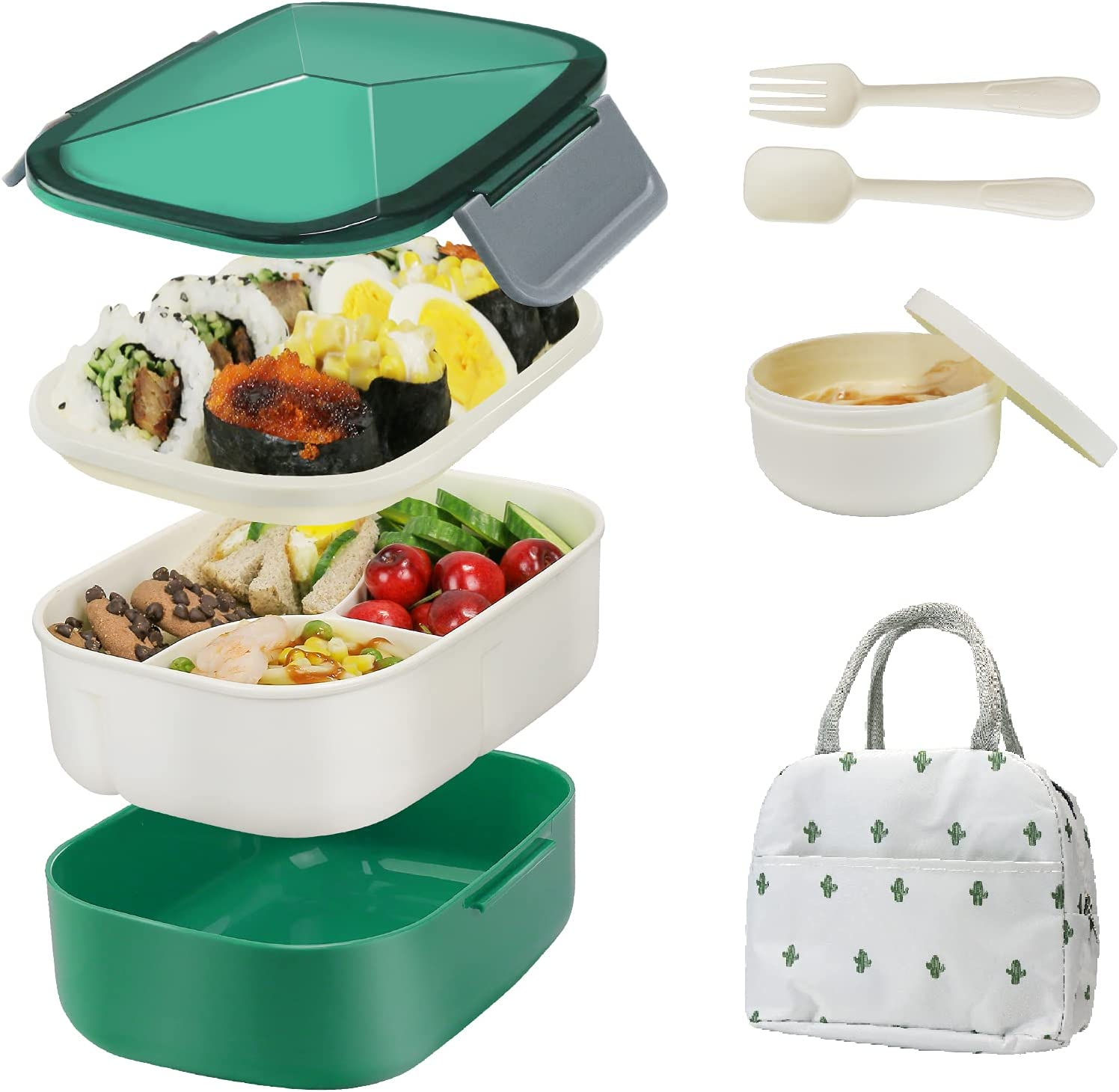 Bestjing Bento Lunch box for Adults, 54.1oz BPA Free Bento Box, 2 Tier &3 Compartment Design Food Containers for Lunch &Snacks, Built-in Utensil&Sauce Cup, Bundled with Insulated Lunch Bag(Dark Green)