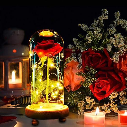 MMTX Regalo de San Valentín La Bella y la Bestia Rose Light, Regalo de la Madre Luz Rosa encantada con 8 Modelos en cúpula de Vidrio con Control ...