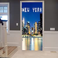 A.Monamour 3D Door Stickers for Interior Doors New York City Building Skyline Cityscape at Night Photography Vinyl PVC…