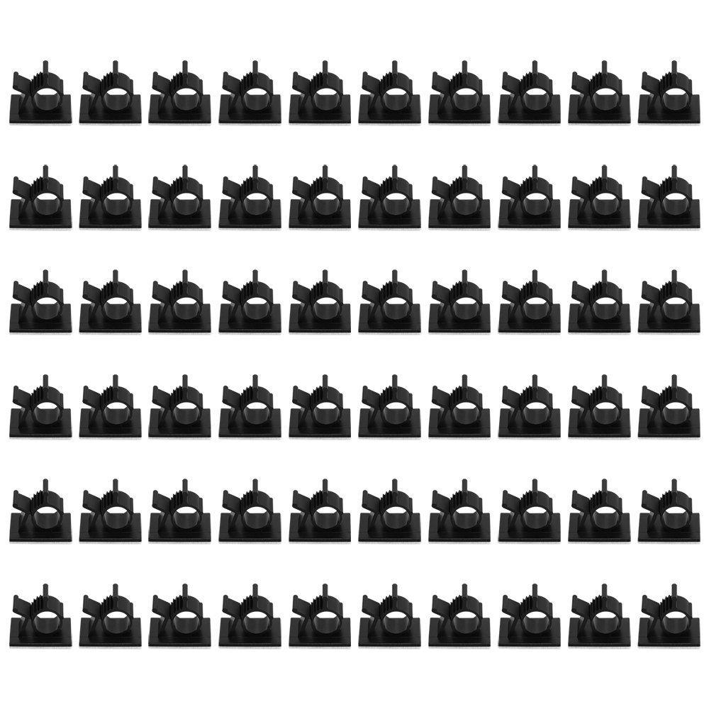 VEVICE Fil de cble Clips de Fixation, 100 Ré glable Autocollant cble Clips Organiseur, Cordon de Voiture, Desk Murale Wire Management, Ordinateur é lectrique Attache de cble Drop Noir [Lot de 100]