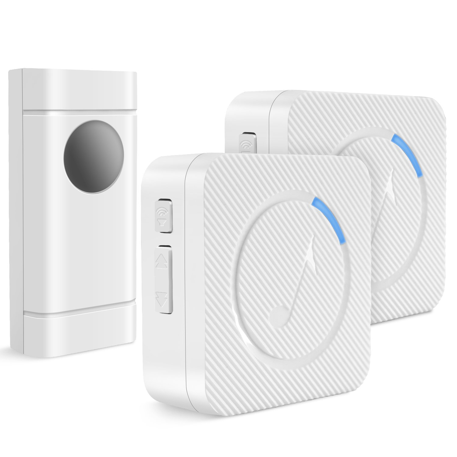 Wireless Doorbell,PEMOTech Waterproof Door Chime Kit Operating at Over 1000ft,Door Bell with 2 Plug-in Receivers,LED Indicators,52 Melodies, Memory Function,Easy to Install for Home and Office,White