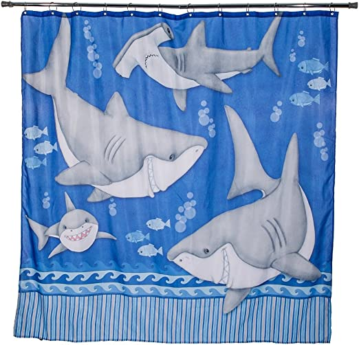 Borders Unlimited Fish N Sharks Under The Water Shower Curtains